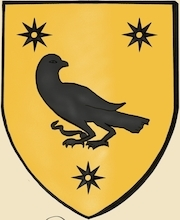 Le tombeau d'un BERTHO se trouve ainsi que celui de sa femme dans le bas coté nord de l'église collégiale de N.D. de Lamballe. Sur le 1° de ces tombeaux est couché un chevalier, sculpté en demi-relief, les pieds posés sur un lion ; à sa ceinture pend un écu triangulaire, dont le blason, bien que mutilé, porte encore les traces d'un oiseau, la tête contournée, accompagnée de 3 molettes à 5 rais.